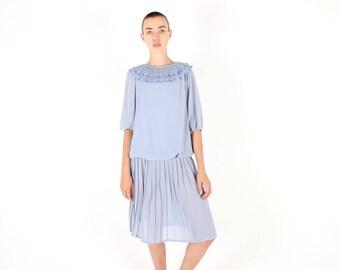80s FLOWER PETAL Collar Pastel Baby Blue Girly Pretty Pleated Drop Waist Midi Dress w/ Bubble / Poet Sleeves