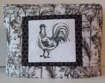 Two Slice Toaster Cover, Black and White Toaster Cover, Rooster Toaster Cover