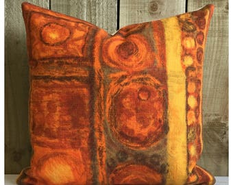 Vintage Mid Century Modern Orange Fabric Cushion Cover  MCM Throw Pillow