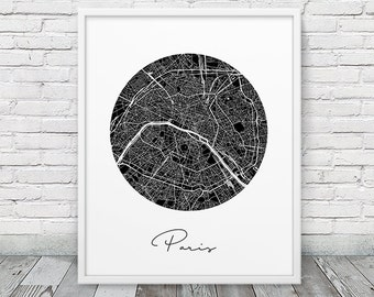 Paris City Street Map Poster. Paris Urban Map Print. Black & White Paris France Poster. Modern Wall Art Home Office Decor. Printable Art