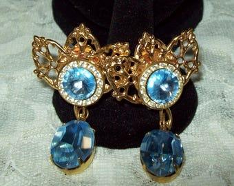 Prom Baby Blue Swarvoski Rhinestone & Gold Drop-Clip Earrings by Nicole Mintz of New York