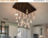 Happy New Year SALE 18 Pendant Industrial Chandelier - Dining Room Light, KItchen Island Chandelier