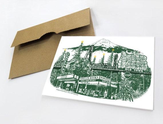 Portland Holiday card // PDX Christmas Notecard // Holiday Card // Oregon // Mt. Hood // cityscape // Portlandmark Holiday // Single Card