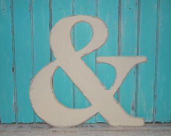Large Ampersand Wedding Guestbook Alternative Distressed 24 Inch Wooden Ampersand Photo Props