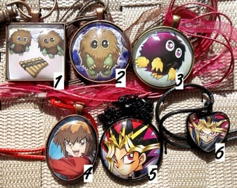 Yugioh Classics - A Connection Through Kuriboh! Glass Pendant made from Trading Cards