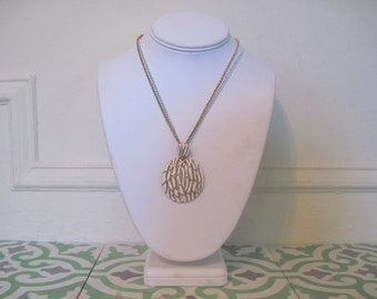white birch, vintage 1960s enamel and gold double-strand necklace with large medallion pendant