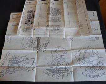 Vintage hot iron on embroidery transfers from 1950's 2 sets dish towels all kittens   #7