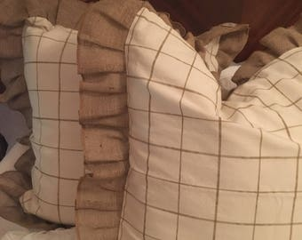 Square patterned shams with burlap ruffle