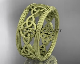 14kt yellow gold celtic trinity knot wedding band, matte finish wedding band, engagement ring CT7236G