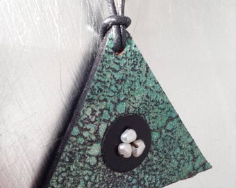 Made in UK Artisan triangle leather green and black leather necklace with 3 natural pearls, black leather cord and silver sterling clasp