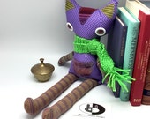 Cat doll with crocheted scarf, purple cat doll, cotton fabric toy, cloth doll with glass eyes, nursery animals, nursery rag doll