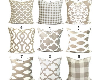 Pillow Cover.Decorative Pillow Cover, Tan Pillow. Throw Pillow, Neutral Pillow, Accent Pillow, Cushion Cover, Taupe, Ecru.All Sizes, Sham