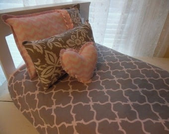 Doll Bedding, 18 inch Doll Bedding, American Girl Doll Bedding, Pink and Gray Doll Bedding