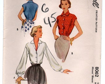 1950 McCall Button-Up Blouse Pattern - Bust 32 - No. 8062
