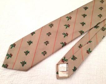 Givenchy Mens Necktie Silk Blend Tan Botanical Flower Patterned Angled Stripe Vintage