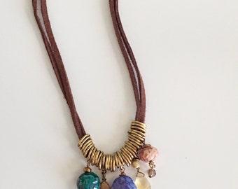 Semi Precious Stone Suede Necklace, Beaded Necklace, Multi Colored Bead Necklace, Brown Suede