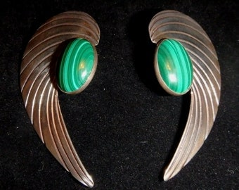 Large Wing Shape Sterling and Malchite Earrings
