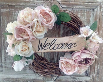 Spring Wreath, Front Door Wreath, Cream and Pink Roses Wreath, Grapevine Wreath with Lace Bow, Rustic Wreath, Welcome Wreath