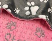 Paw Print Blanket, Gray Paw Print Dog Blanket, Pink Paw Print Puppy Blanket, Personalized Dog Blanket, Personalized Puppy Blanket