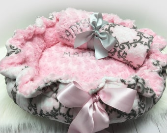 Dog Bed, Pet Bed, Personalized Dog Bed, Baby Pink and Gray Minky Dog Bed, Dog Pet Bed And Blanket Set, Damask Pet Bed