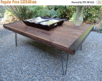 "Limited Time Sale 10%OFF 30"" x 30"" Industrial Coffee Table from old barnwood with hairpin legs"