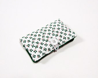 Christmas Holly Leaves Fabric Business Card Holder, with White Polka Dot on Green  - Credit Card Holder, Cloth Card Holder, Gift Card Holder