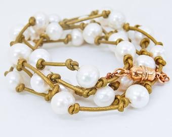 Pearl Wrap Bracelet   Pearl Cuff Bracelet   Bronze Leather   Convertible
