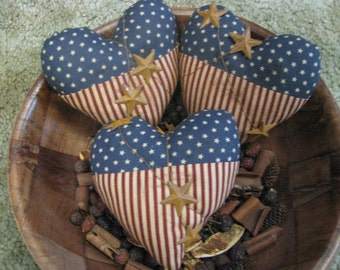 Patriotic hearts, bowl fillers,  hearts, 4th of July, Americana, primitive,  July 4th,  red, white, blue, stars,  material