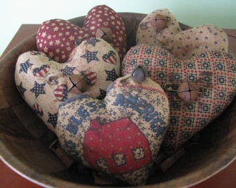 Patriotic hearts, hearts, bowl fillers, 4th of July, July 4th, material