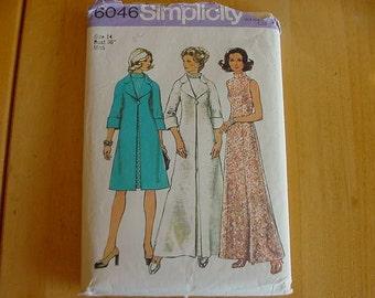 VINTAGE 1970s Simplicity Pattern 6046,  Misses Dress, Coat, Day or Elegant Evening Length, Variations, Size 14, Bust 36