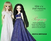 Empire waisted Regency dress doll clothes pattern for Slim 1/4 MSD BJD: Minifee, Kid Delf, Soulkid, Hujoo, Ellowyne Wilde