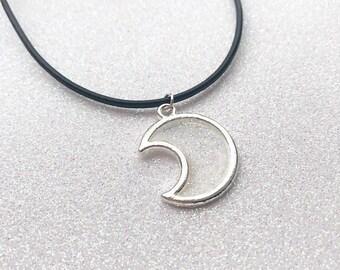 Clear Glittery UV Resin Fairy Kei Moon Choker Necklace