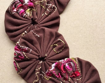 """brown and pink embroidered sequin 2"""" fabric yoyo embellishments--lot of 4"""