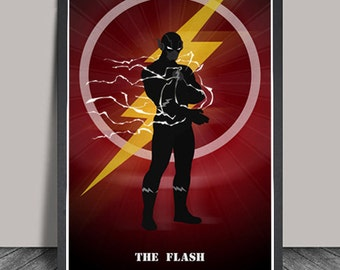Flash Poster.Flash Print Superheroes Minimalist Superhero print Justice League ,Wall art,Christmas Gift,DC Comic Gift,The Flash Superhero