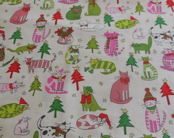 Jingle Cats / Natural -Pink / Christmas - Alexander Henry Fabric 1 Yard