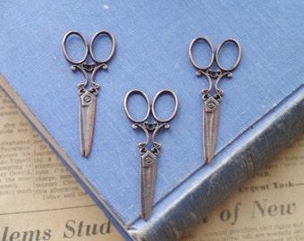 8 pcs Antique Copper LARGE Scissor Charm 60mm (CC3121)