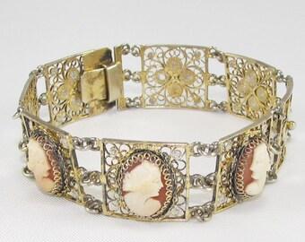 Antique Cannetille Art Nouveau Bracelet 1930s Filigree Floral Cameo Bracelet