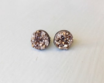 Rose Gold Geode Stud Earrings -druzy