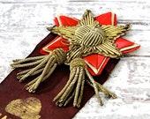 Antique Ribbon Award Gold Wire Bullion Metallic Applique Early Century Textile Memorabilia