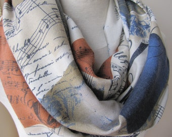 Music Scarf, Music Notes Scarf, Gift for Her, Gift For Musician, Musical Scarf, Musical Print Scarf, Book Scarf, Text Scarf, Writing Scarf