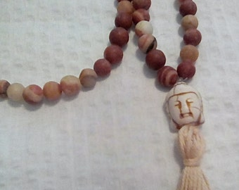 Red Italian Onyx Mala Buddhist prayer beads rosary 108 beads Mala Worry beads  Meditation.