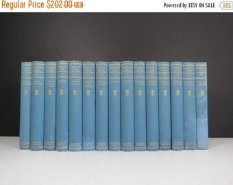 """SPRING SALE John Burroughs Book Set // Antique Early 1900's """"Works of John Burroughs"""" Partial Collection 15 Blue Volumes Naturalist Library"""