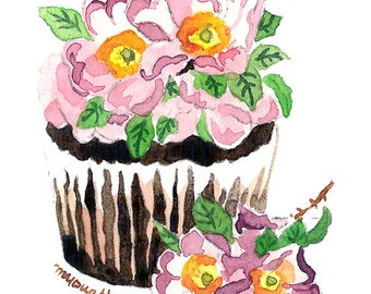 ACEO Original watercolor painting- Sweet cupcake II, Gift for her, Miniature painting, Ilustration