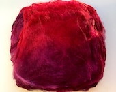 Hand Dyed Silk Fiber Mawata Silk Hankies for Felting, Spinning, Knitting. RED and BURGUNDY.