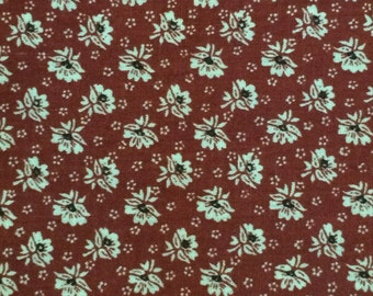 Cotton Fabric / Cotton Calico Fabric / Rust Floral Fabric / Floral Fabric / Quilting Fabric / By The Yard