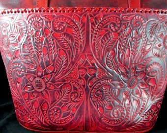 "Guadalajara,Mexican Hand Tooled Leather ""Antique Red"" Western Style Purse"