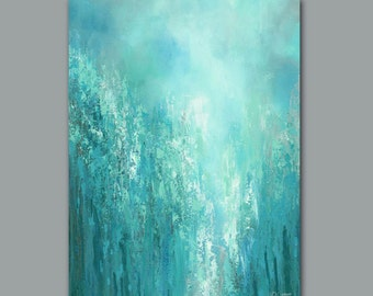 Large abstract wall art, Teal gray home decor, Aqua artwork, Turquoise blue green, Master Bedroom wall art, Office decor, XL Canvas print
