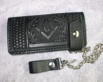 freemason long Black wallet. masonic wallet. ships same day as ordered