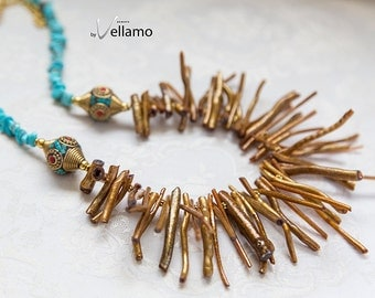 The gold branch statement bib necklace, golden faux coral branches, tribal beads, blue turquoise chips, light weight glam design necklace