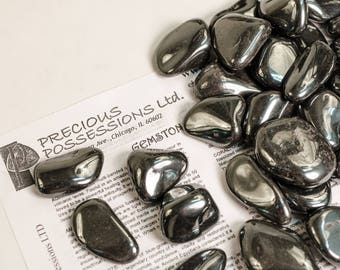 "Hematite 1/4 Lb Tumbled Stones Size Large 1.30-1.85"" With Bag"